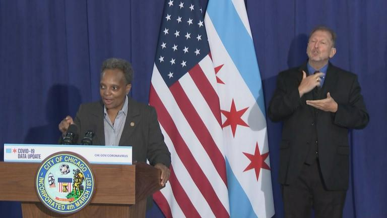Mayor Lori Lightfoot talks about rising coronavirus cases at a Monday, Oct. 19, 2020 press conference. (WTTW News)