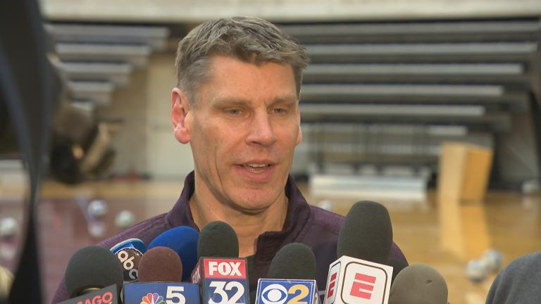 Loyola University Chicago men's basketball coach Porter Moser speaks to the press March 19, 2018. (Chicago Tonight)