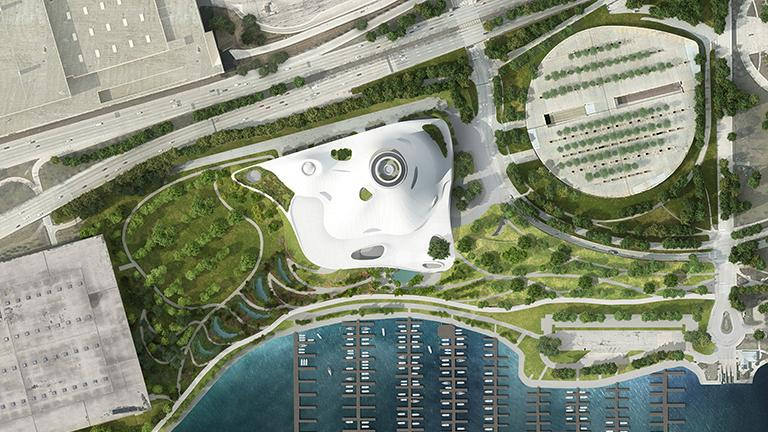 Rendering of the proposed site for the Lucas Museum of Narrative Art (Courtesy Lucas Museum)