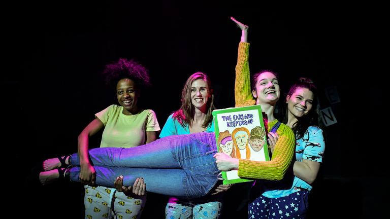 "Madeline Lauzon, front, with, from left, Shelby Marie Edwards, Allison Taylor and Ricci Prioletti in ""Lucky: A Musical,"" part of Underscore Theatre Company's 5th annual Chicago Musical Theatre Festival. (Photo by Evan Hanover)"