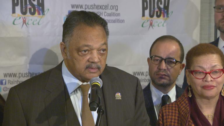 Rev. Jesse Jackson, Sr. speaks Monday.