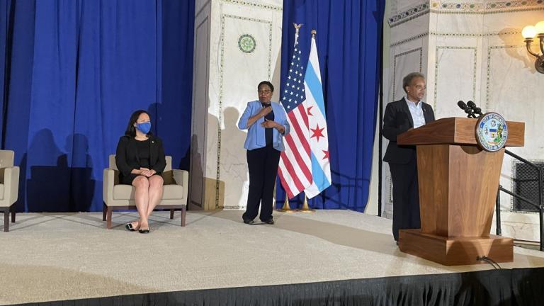 Chicago Mayor Lori Lightfoot talks Wednesday, Aug. 11, 2021 about the 2022 budget. (Heather Cherone / WTTW News)
