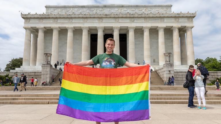 Mikah Meyer visits the Lincoln Memorial in Washington, D.C. on Monday, April 29, 2019. The national park site was his final stop on a three-year journey visiting all 419 national park sites. (Courtesy of Mikah Meyer)