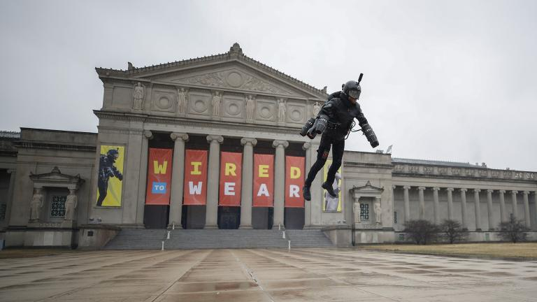Richard Browning of Gravity Industries demonstrates his Jet Suit as he takes off from the steps of the Museum of Science and Industry in Chicago. (Courtesy of MSI Chicago)