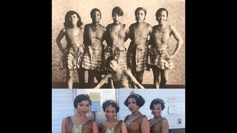 "A reference photo, above, for inspiration and the results, below, of Mia Neal's work on the set of ""Ma Rainey's Black Bottom."" (Courtesy of Impact24)"