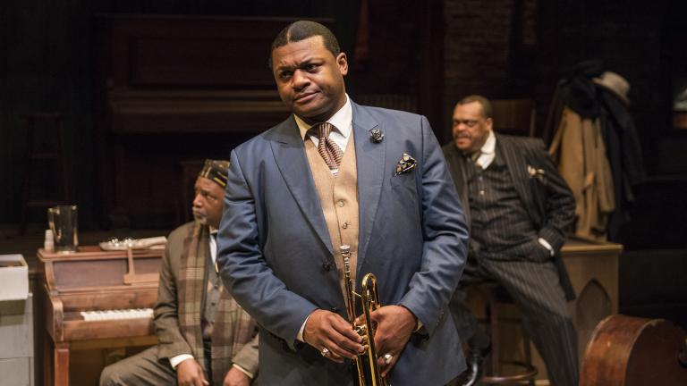 "From left: David Alan Anderson, Kelvin Roston, Jr. and A.C. Smith in ""Ma Rainey's Black Bottom"" at Writers Theatre. (Photo credit: Michael Brosilow)"