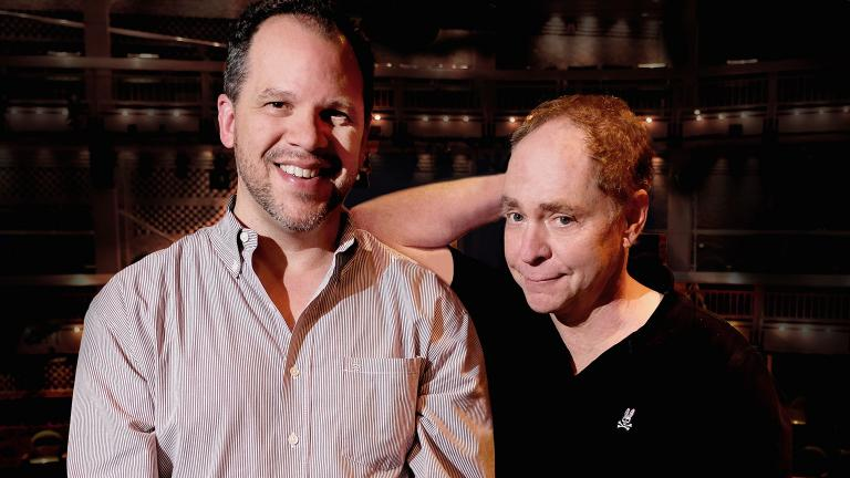 """Aaron Posner, left, and Teller (of Penn & Teller) adapt and direct Chicago Shakespeare Theater's production of """"Macbeth."""" (Photo by Bill Burlingham)"""