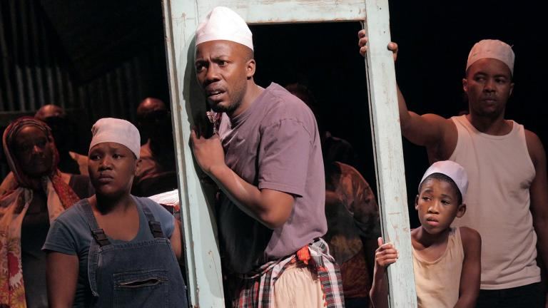 "Chicago Shakespeare Theater presents Isango Ensemble's ""A Man of Good Hope,"" based on the book by Jonny Steinberg and adapted and directed by Mark Dornford-May, in the Courtyard Theater, Oct. 4–13, 2019. (Photo by Keith Pattinson)"