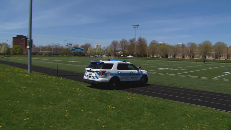 A Chicago police vehicle blocks the track at Mandrake Park on the city's South Side. (WTTW News)