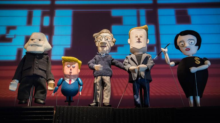 "Pedro Reyes's puppet play ""Manufacturing Mischief,""featuring Karl Marx, Tiny Trump, Noam Chomsky, Elon Musk and Ayn Rand. (Photos by Sham Sthankiya April 2018)"
