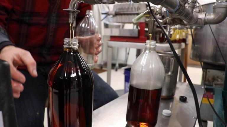 Maple syrup is bottled piping hot in the Funks Grove fishing room. The Funks say the hot liquid sanitizes the container. (Evan Garcia / WTTW News)