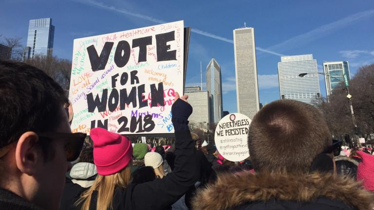 Crowds gather in Grant Park on Jan. 20, 2018 for the March to the Polls. (Amanda Vinicky / Chicago Tonight)