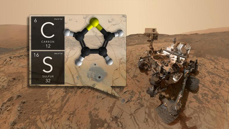 NASA's Curiosity rover has discovered ancient organic molecules on Mars, embedded within sedimentary rocks that are billions of years old. (Credit: NASA / GSFC)