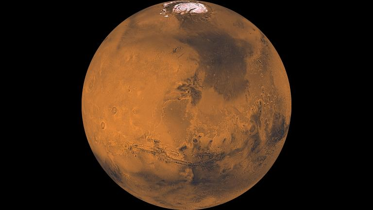 Mars is bright in the summer sky this week. (Credit: NASA / JPL / USGS)