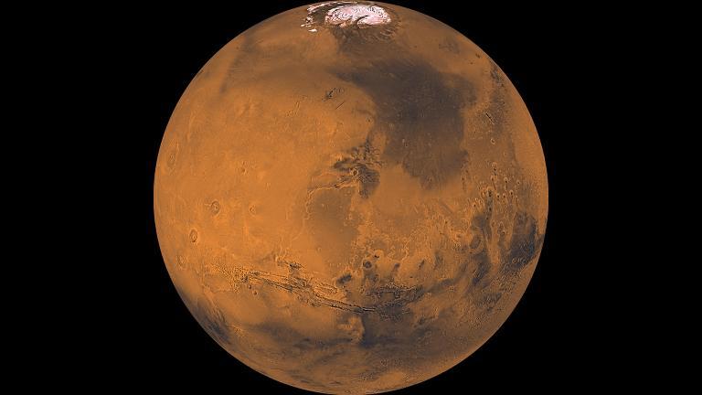 Mars is bright in the summer sky this week. (Credit: NASA / JPL / USGS)