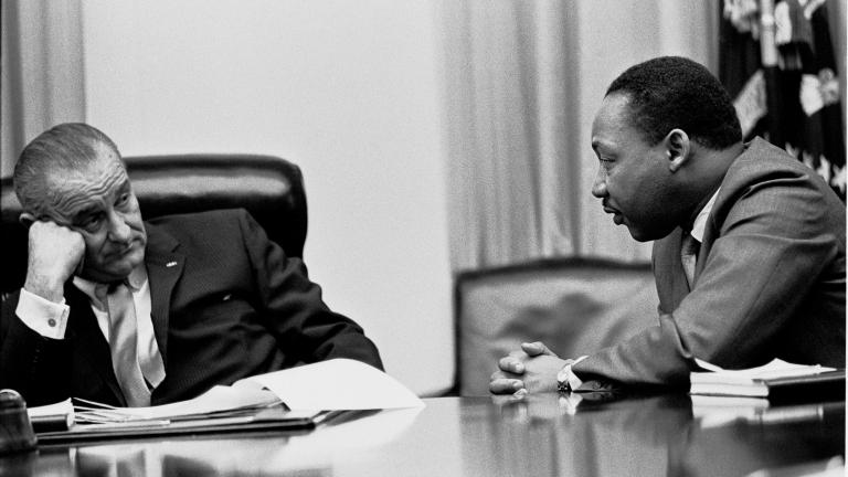 President Lyndon B. Johnson meets with Martin Luther King Jr. in the White House Cabinet Room in 1966.