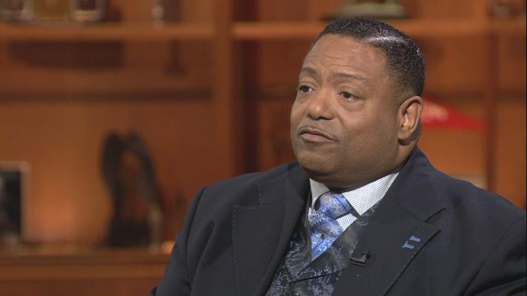 "The Rev. Marvin Hunter appears on ""Chicago Tonight"" on Jan. 21, 2019."