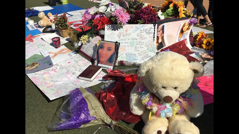 A memorial in Las Vegas for victims of the Oct. 1 shooting that left 58 dead and more than 500 wounded. (Jay Smith / Chicago Tonight)