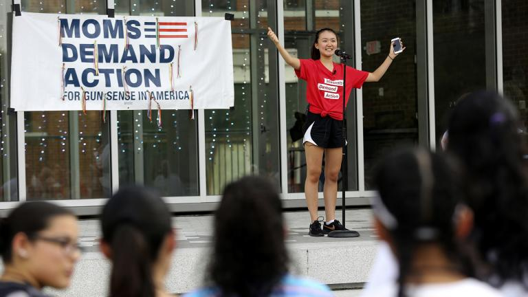 "In this Aug. 11, 2019, file photo, Seo Yoon ""Yoonie"" Yang, with Students Demand Action, speaks during a vigil to remember the victims of the El Paso, Texas, and Dayton, Ohio, mass shootings and call for lawmakers to take action against gun violence at Miller Park in Chattanooga, Tenn. (Erin O. Smith / Chattanooga Times Free Press via AP)"