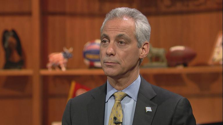"Mayor Rahm Emanuel on ""Chicago Tonight"" in March 2016."