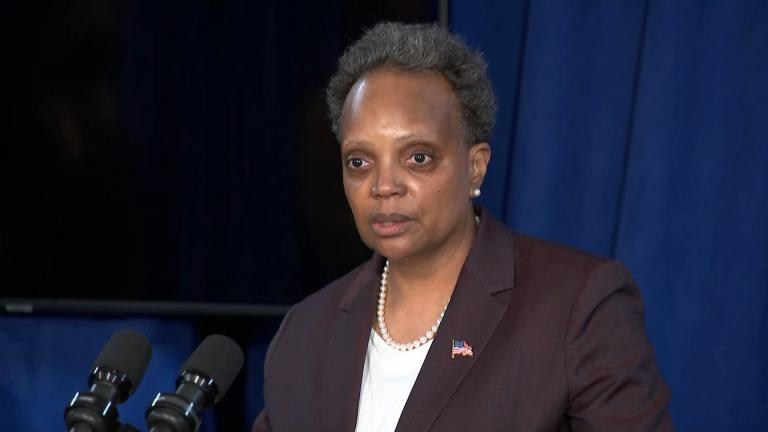 Chicago Mayor Lori Lightfoot address the news media on April 6, 2021. (WTTW News)