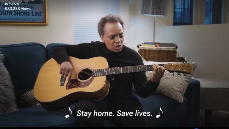 "Chicago Mayor Lori Lightfoot takes a humorous approach to a serious subject: ""Stay home, save lives."" (Chicago Mayor's Office)"