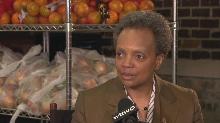 "Chicago Mayor Lori Lightfoot appears on ""Chicago Tonight"" on location in the East Garfield Park neighborhood on Wednesday, April 1, 2020. (WTTW News)"