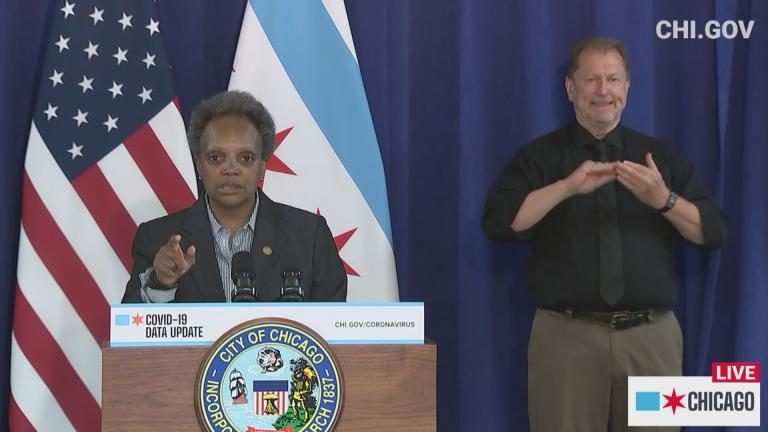 Mayor Lori Lightfoot provides an update on COVID-19 in Chicago on Wednesday, July 15, 2020. (WTTW News via chi.gov)
