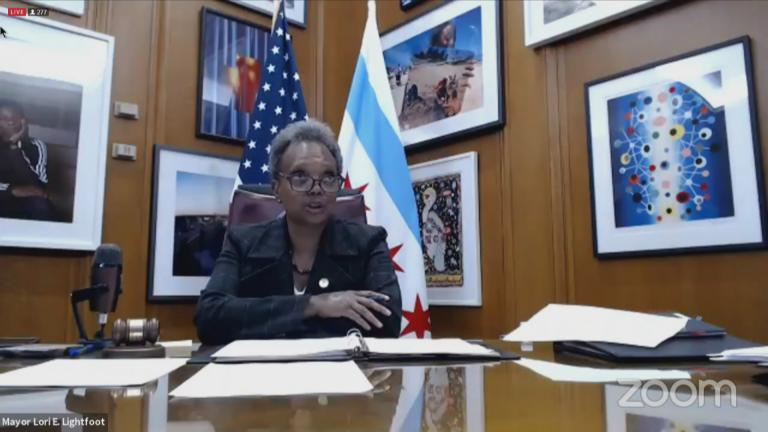 Mayor Lori Lightfoot speaks during a virtual Chicago City Council meeting on Monday, Nov. 16, 2020. (WTTW News via City of Chicago)