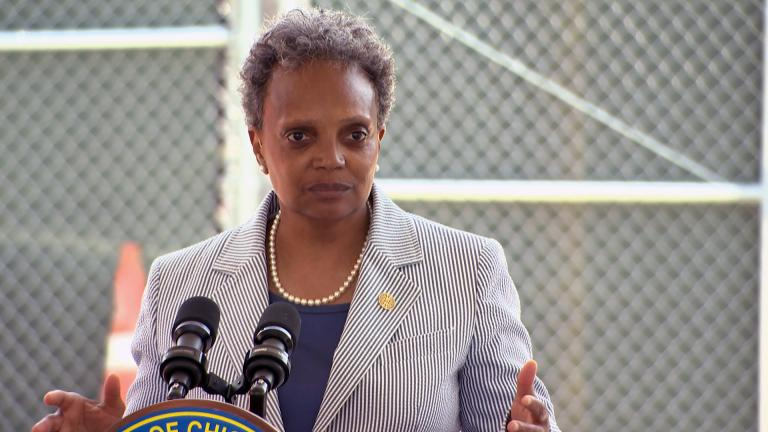 Mayor Lori Lightfoot talks about the possibility of an elected school board in Chicago at an unrelated news conference on Wednesday, June 2, 2021. (WTTW News)
