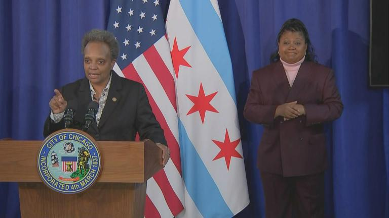 Mayor Lori Lightfoot speaks to the media following a City Council meeting to vote on her budget, which passed, on Tuesday, Nov. 24, 2020. (WTTW News)