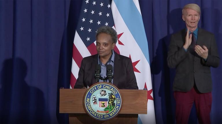 Mayor Lori Lightfoot offers her congratulations to President-elect Joe Biden and Vice President-elect Kamala Harris on Saturday, Nov. 7, 2020. (WTTW News via Chicago Mayor's Office)