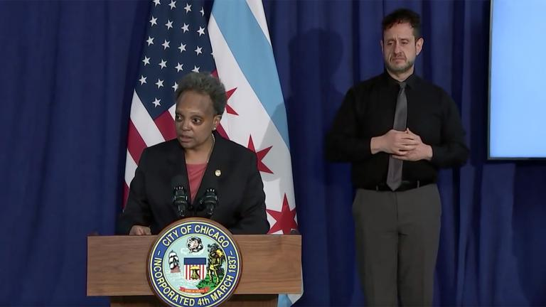Mayor Lori Lightfoot delivers remarks at a news conference Thursday, April 15, 2021 ahead of the release of police body camera video showing the March 29 death of 13-year-old Adam Toledo. (WTTW News via Chicago Mayor's Office livestream)