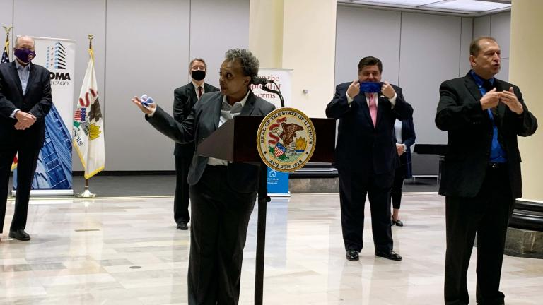 Mayor Lori Lightfoot announces that COVID-19 vaccination clinics will be held in office buildings as employees return to work at a news conference Monday, May 10, 2021. (Heather Cherone / WTTW News)