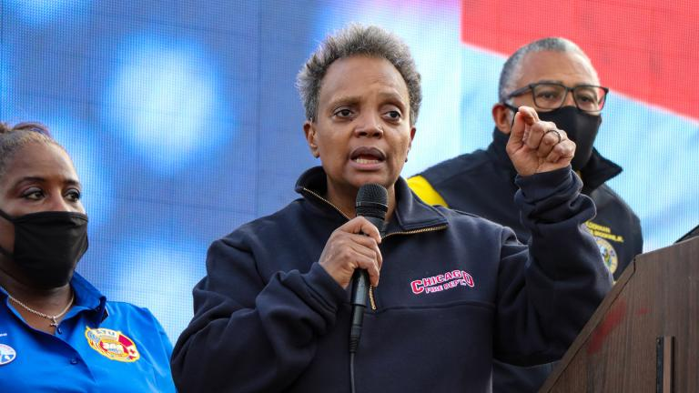Mayor Lori Lightfoot speaks at a press conference in Chicago's 21st Ward on Sunday, Nov. 8, 2020. (Grace Del Vecchio / WTTW News)