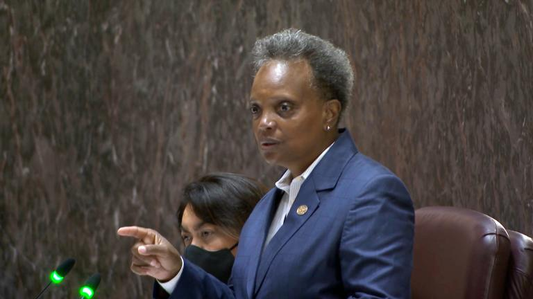 Mayor Lori Lightfoot presents her budget proposal for 2022 to the Chicago City Council on Monday, Sept. 20, 2021. (WTTW News)