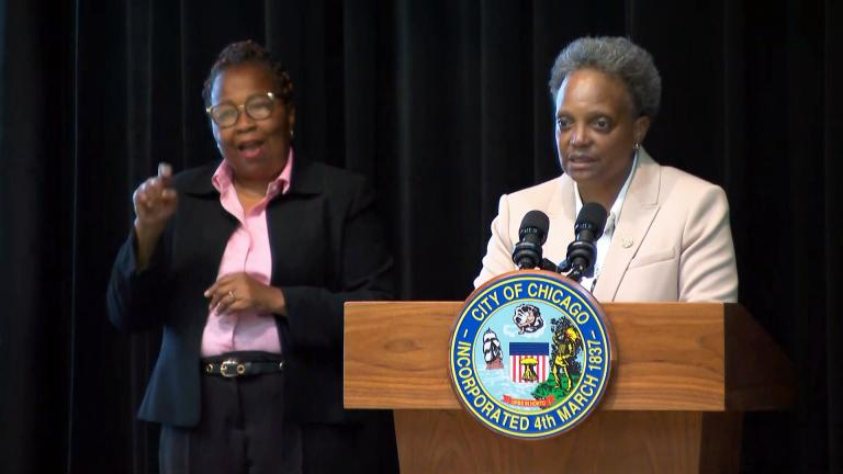 Mayor Lori Lightfoot talks about a vaccine requirement for city workers on Monday, Aug. 23, 2021. (WTTW News)