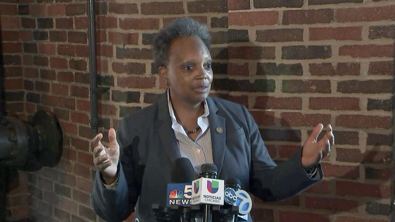Mayor Lori Lightfoot had a lot to say about the Bears moving to Arlington Heights and the future of Soldier Field, Sept. 29, 2021. (WTTW News)