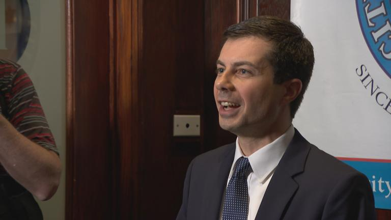Democratic presidential hopeful Pete Buttigieg, the mayor of South Bend, Indiana, takes questions from reporters following his speech at the City Club of Chicago on May 16, 2019.