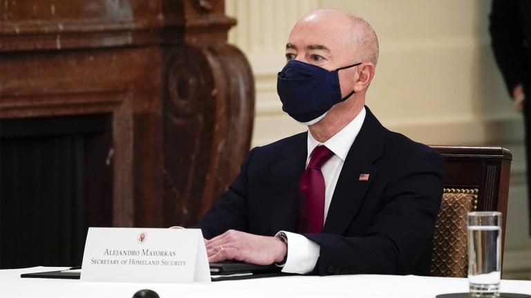 Secretary of Homeland Security Secretary Alejandro Mayorkas attends a Cabinet meeting with President Joe Biden in the East Room of the White House, Thursday, April 1, 2021, in Washington. (AP Photo / Evan Vucci)