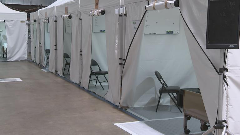 Inside the McCormick Place alternate care facility for COVID-19 patients on April 17, 2020. (WTTW News)