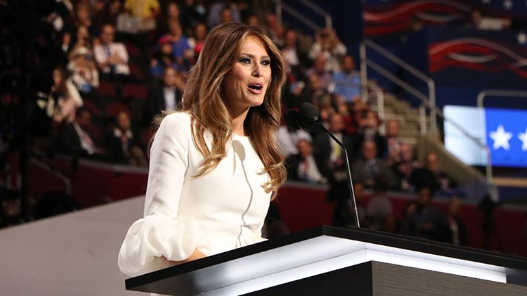 Melania Trump delivers a speech Monday at the Republican National Convention. (Evan Garcia / Chicago Tonight)