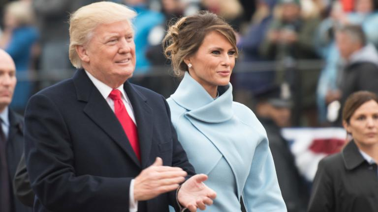 President Donald Trump and first lady Melania Trump at the 58th presidential inaugural parade in Washington D.C., on Jan. 20, 2017. (U.S. Army photo by Pvt. Gabriel Silva / Wikimedia Commons)