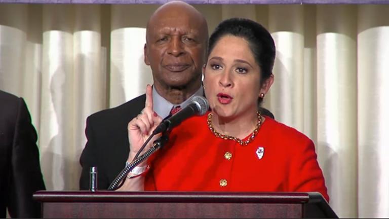 Susana Mendoza delivers her acceptance speech as Illinois' next comptroller. (blueroomstream.com)