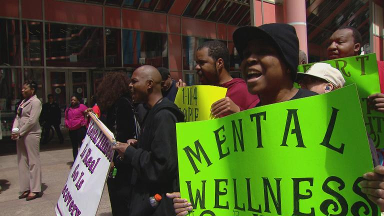 This file photo from 2015 shows a protest over mental health care in Chicago. (WTTW News)