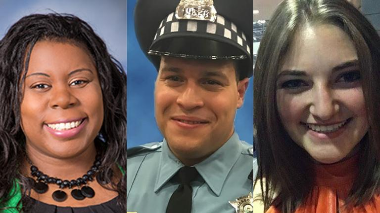 Dr. Tamara O'Neal, left, Chicago police Officer Samuel Jimenez and pharmaceutical resident Dayna Less. (Franciscan Health / Chicago Police Department / Facebook)