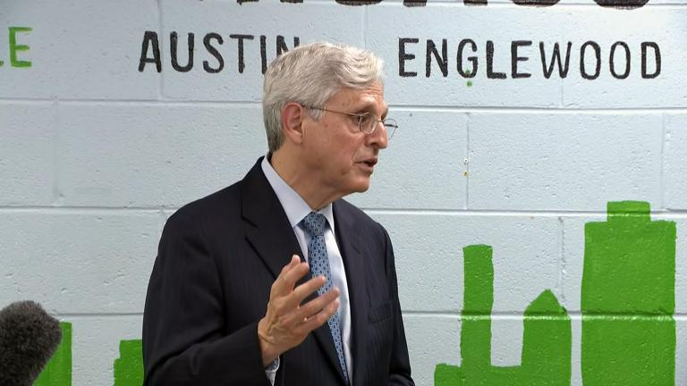 U.S. Attorney General Merrick Garland toured Chicago Thursday visiting a local police precinct and church and meeting with Mayor Lori Lightfoot and Police Superintendent David Brown, July 22, 2021. (WTTW News)
