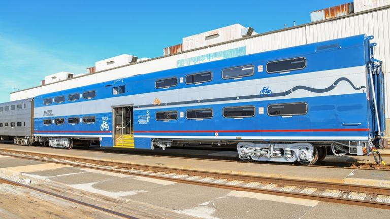 Metra's new Bike Car has distinctive paint and decals. (Metra / Facebook)