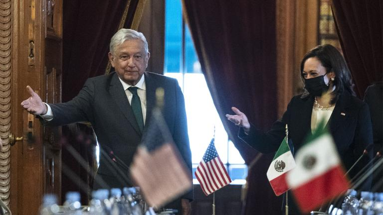 Vice President Kamala Harris and Mexican President Andres Manuel Lopez Obrador arrive for a bilateral meeting Tuesday, June 8, 2021, at the National Palace in Mexico City. (AP Photo / Jacquelyn Martin)