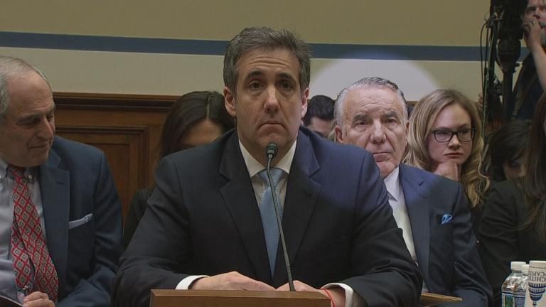 In this edited photo, Michael Cohen testifies before Congress on Wednesday, Feb. 27, 2019. Cohen's attorney Michael Monico, right, is highlighted.